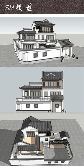 三层现代中式别墅住宅建筑SU