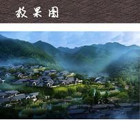 水乡小镇建筑景观效果图