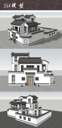 中式别墅住宅建筑SU模型