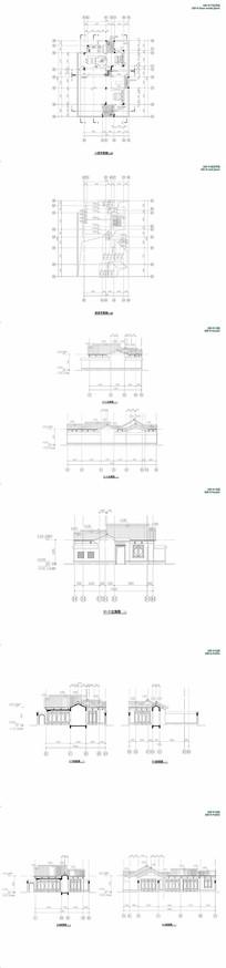100平中式一层住宅平立面