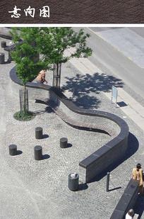 城市休闲广场曲线坐凳 JPG
