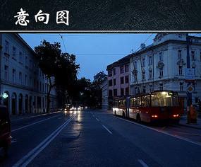 黎明时的繁华城市景观