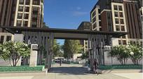 住宅小区入口大门设计 JPG
