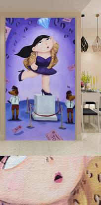 儿童卧室卡通人物玄关装饰画