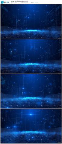 蓝色3D空间粒子科技背景视频