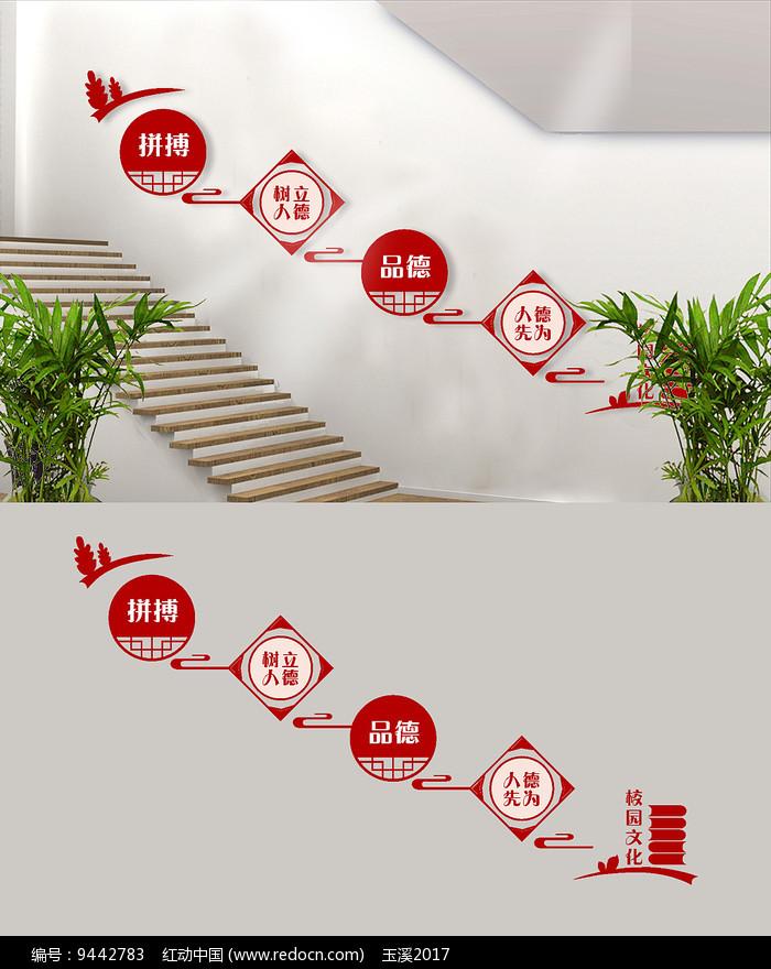 立德树人拼搏校园文化楼梯墙面设计图片