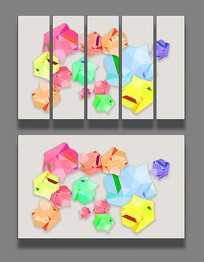 3D抽象彩色几何背景墙