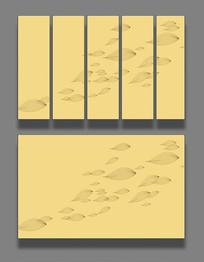 树叶飘舞简约金色背景墙