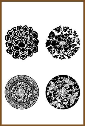 四套中国传统矢量圆形花纹图案