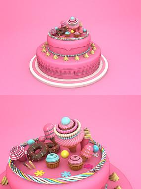 C4D蛋糕甜品淘宝周年庆海报