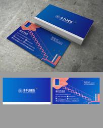 蓝色阶梯式创意科技装饰名片