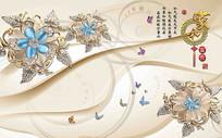 3D珠宝花卉背景墙