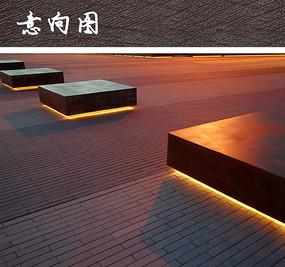 广场坐凳夜景灯光