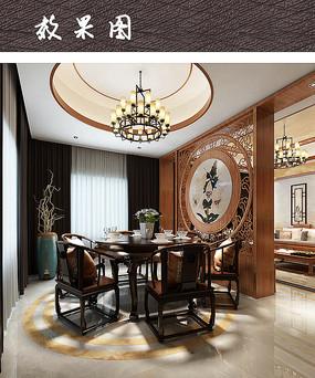 中式元素装饰家庭餐厅