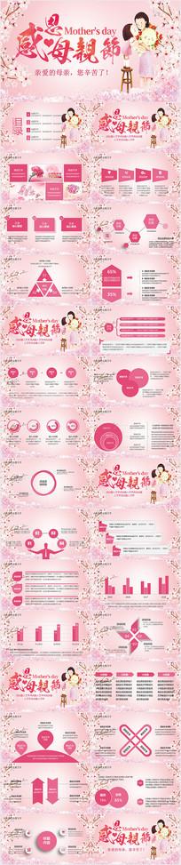 粉色感恩母亲节PPT模板
