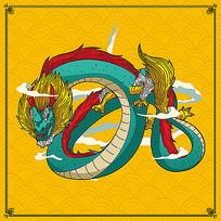 手绘传统中国龙