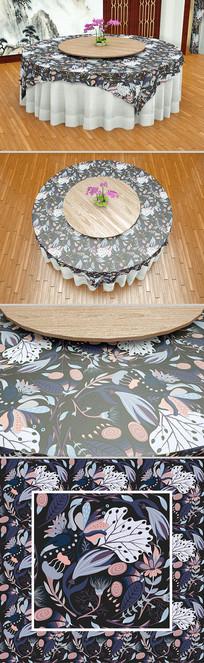 藏青时尚草叶无缝桌布设计