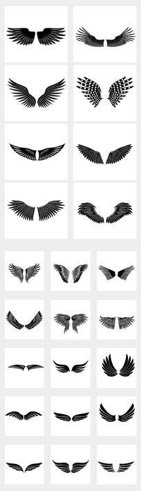 黑翅膀纹身图案