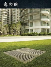 草坪上排水井盖