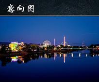 海边城市灯光夜景图