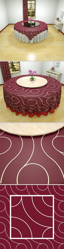 酒红金丝桌布设计