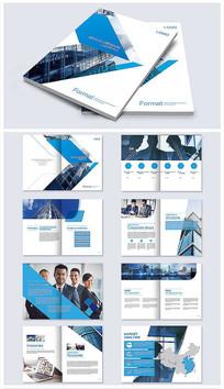 蓝色公司宣传册画册AI模板