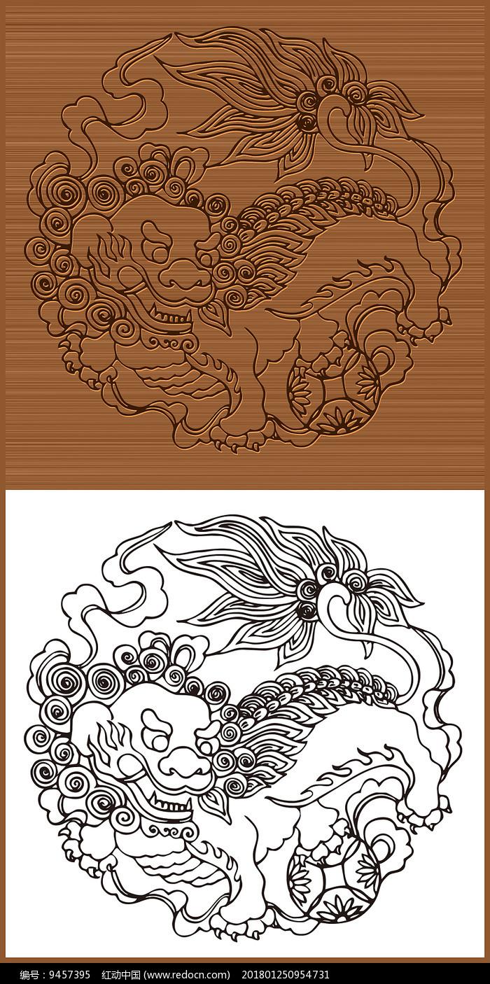 中国传统舞狮矢量素材图片