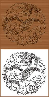 中国传统舞狮矢量素材
