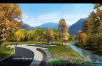 青海甘肃地区河道景观效果图