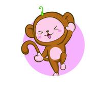 日式风格卡通猴子插画AI矢量