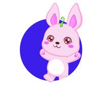 日式风格卡通兔子AI矢量