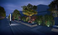 市政道路景观绿化夜景效果图