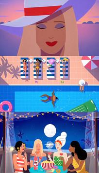 卡通原创动画水上乐园AE模板