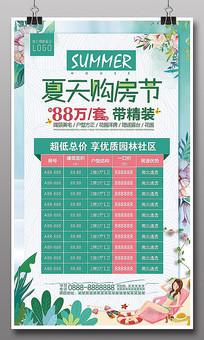 小清新夏日房地产特价房海报
