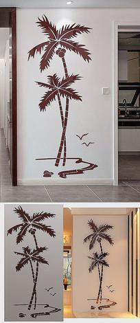 3D立体海鸥椰子树亚克力装饰画