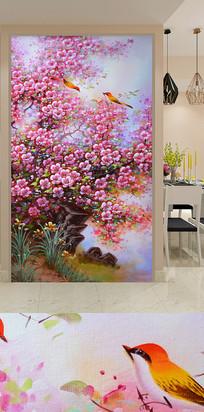 超清花卉树木飞鸟艺术玄关装饰画