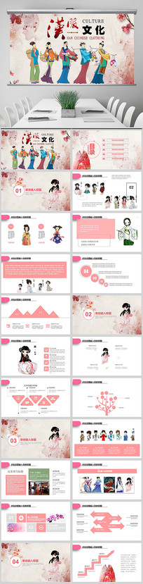 创意手绘中国汉服文化ppt
