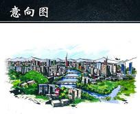都市景观设计手绘效果图