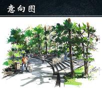 公园道路手绘图 JPG