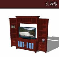 红褐色木质电视柜