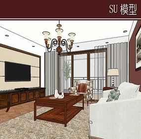 简欧客厅家具组合模型
