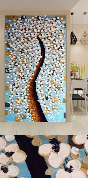 洁白发财树艺术玄关装饰画