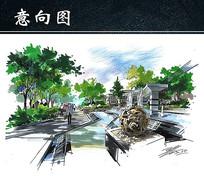 酒店大门水景手绘图