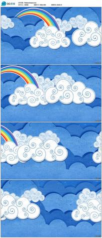 卡通彩虹云朵背景视频
