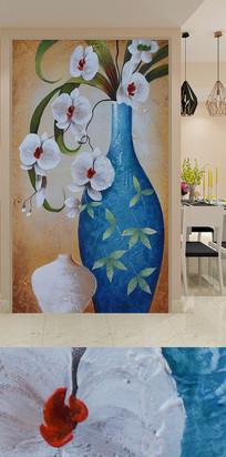蓝色花瓶玉兰花玄关装饰画