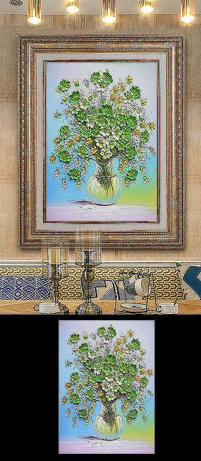 立体花瓶发财树油画玄关装饰画