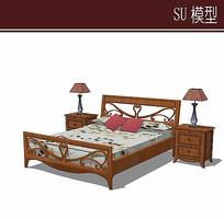 木质镂空图案床模型