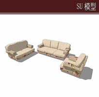 浅色沙发组合模型