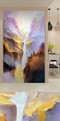 手绘抽象山水玄关装饰画背景墙