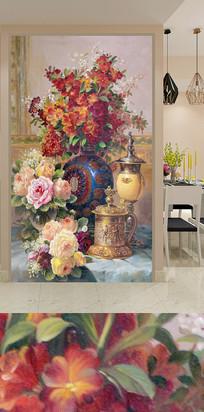 手绘复古花卉花瓶玄关背景墙